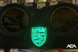 Custom Sub Enclosure With Etched Plexiglass LED Porsche Logo